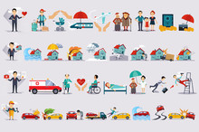 Various Types Of Insurance Set, Insurance Of Life, Health, Property, Finance, Accidents Colorful Vector Illustrations On A White Background