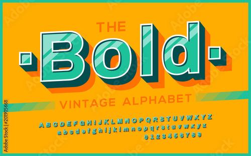 Retro Font 90s 80s Typography Design Simple Bold Style Vector Abc Alphabet