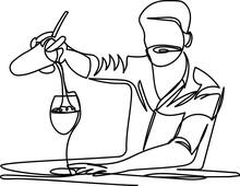 Bartender. Outline Drawing