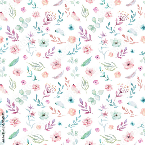 Fotografie, Obraz  Cute watercolor unicorn seamless pattern with flowers