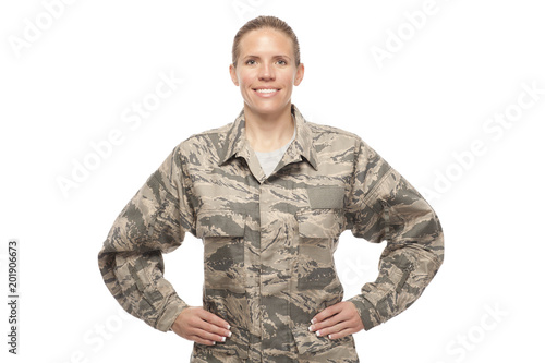 Photo Female airman with hands on hips