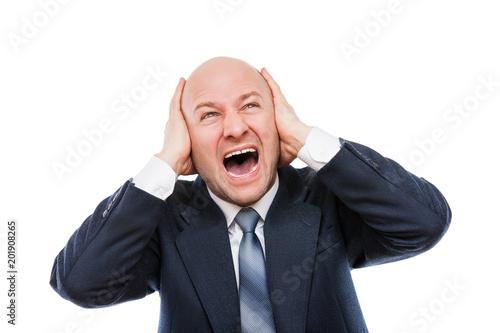 Cuadros en Lienzo Loud shouting or screaming tired stressed businessman hands covering ears