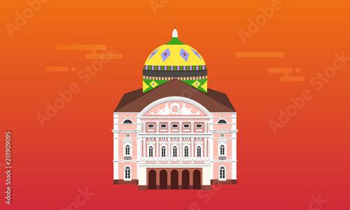 Ilustração detalhada do monumento Teatro Amazonas na cidade de Manaus.