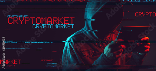 Cryptomarket concept with faceless hooded male person