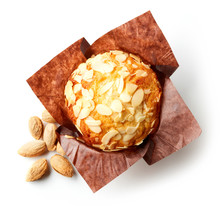 Almond Muffin Isolated On White, From Above