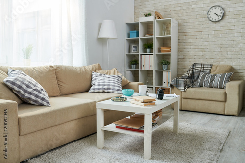 Spacious Living Room With Bookshelf Plants And Folders Coffee Table Mugs Books