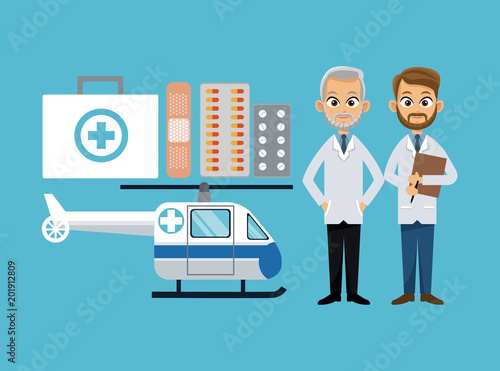 Poster Medical cartoons collection vector illustration graphic design