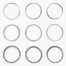 Set Of Vector Hand Drawn Circles. Circular Scribble Doodle Round Circles For Message - Stock Vector.