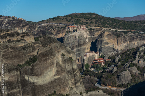Tuinposter Grijs Landscape with monasteries and rock formations in Meteora, Greece.