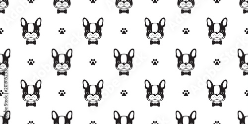 Dog Seamless Pattern French Bulldog Vector Bow Tie Paw Isolated Background Wallpaper