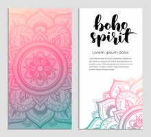 Abstract Mandala Banner Design. Vector Creative Illustration With Oriental Boho Elements. Gradient Color Theme Flyers Template