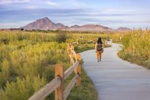 A Woman Walkimg On The Trail I...
