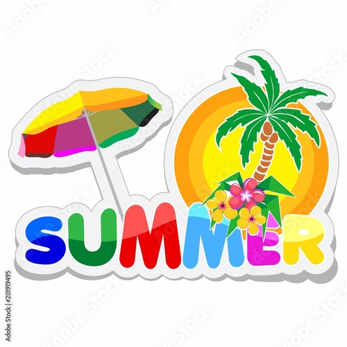 Fotobehang Draw Summer Sticker with Text, Palmtree, Flowers and Parasol
