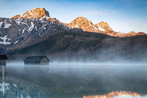 Almsee in Morgenstimmung mit glühenden Bergen Wallpaper Mural
