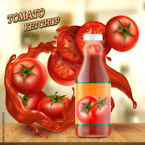 Vector promotion banner with realistic glass bottle of ketchup, with splashes of red sauce, with tomatoes and slices on background Canvas Print