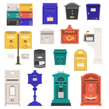 Retro Street Postbox Collection With Vertical Pillar Letter-box, Public Wall Letterboxes And Mail Posts With Envelope And Horn Symbols. Vintage Mailbox Set With Classic London Royal Post Box Icons.