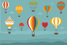 Landscape With Hot Air Balloons. Vintage Banner With Retro Aerostats Of Different Shapes Flying Over The Hills Or Mountains. Air Craft Adventure, Romantic Flight Trip, Touristic Ballooning Journey.