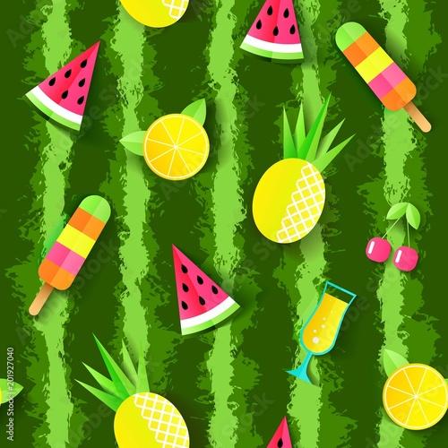 kolorowy-lato-wzor-z-arbuza-ananasa-koktajl-wisnia-pomaranczowy-i-lody-ilustracji