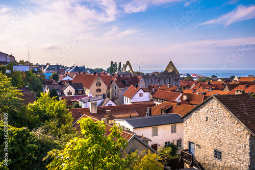 Visby - September 23, 2018: Panoramic view of the old town of Visby in Gotland, Wallpaper Mural