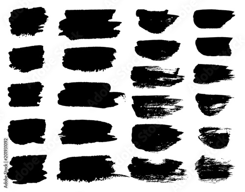 Tuinposter Vormen Vector black paint brush spots, highlighter lines or felt-tip pen marker horizontal blobs. Marker pen or brushstrokes and dashes. Ink smudge abstract shape stains and smear set with texture