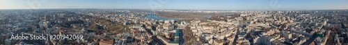 Foto op Canvas Barcelona Panorama of the city of Kiev with the Dnieper river against the blue sky, Ukraine