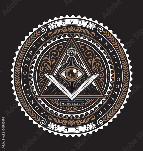 Fényképezés  All Seeing Eye Emblem Badge Vector Logo 2 Color