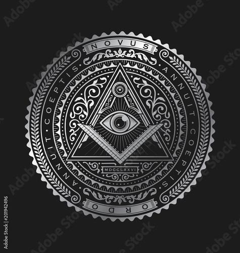 Obraz na plátne All Seeing Eye Emblem Badge Vector Logo Metallic