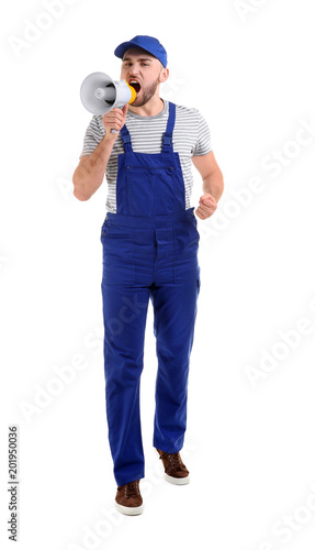 Fototapety, obrazy: Male worker shouting into megaphone on white background