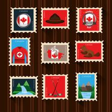 Happy Canada Day Set Postage S...