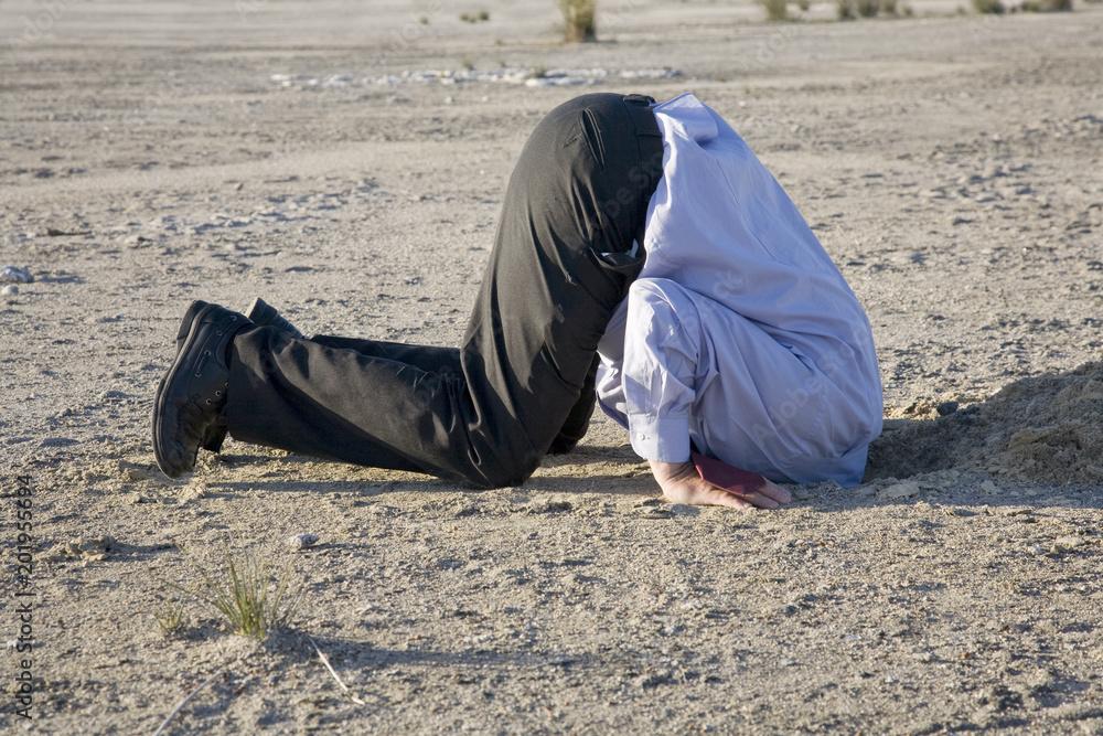 Fototapeta Bury your head in the sand or turn a blind eye.