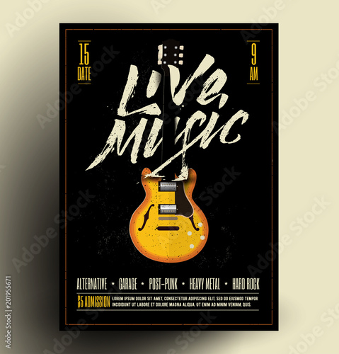 Vintage Styled Retro Live Rock Music Party or Event Poster, Flyer, Banner. Vector Template. Vector Illustration. © paul_craft