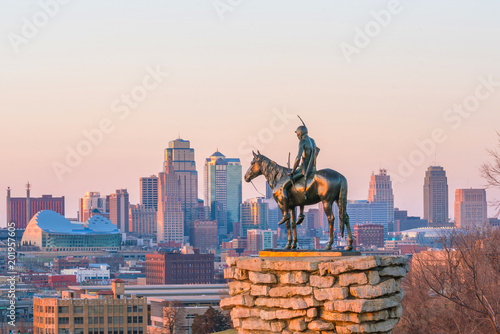 The Scout overlooking downtown Kansas City - 201957605