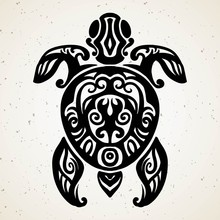 Tribal Tattoo With Decorative Sea Turtle With Ethnic Pattern. Authentic Artwork With A Symbol Of The Totem. Stock Vector Graphics Clipart Tattoos Like Maui From Moana Cartoon.