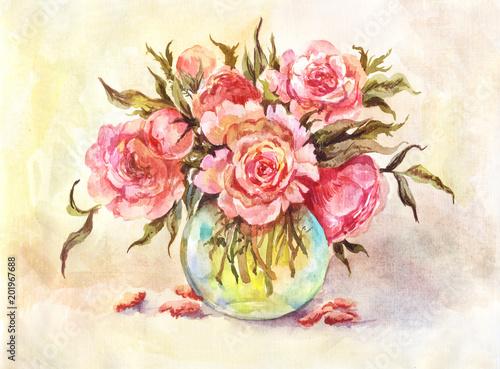 Akwareli ilustracja bukiet różowe peonie. Rocznika tło