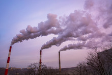 Many Large Pipes Of Which Goes Dirty Smoke, Exhaust Fumes And Shepherds, Above The City,