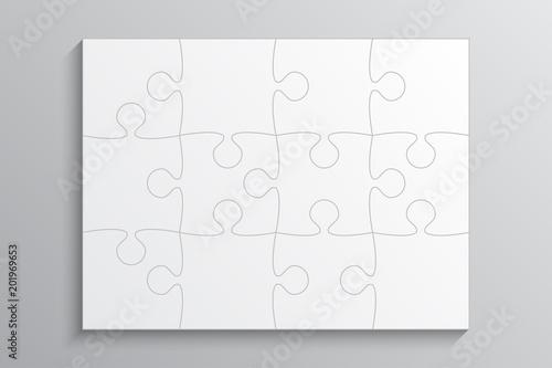 Fotografia  White Piece Puzzle Banner. 12 Step. Background.
