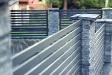 Modern Fence With Stone Pillar...