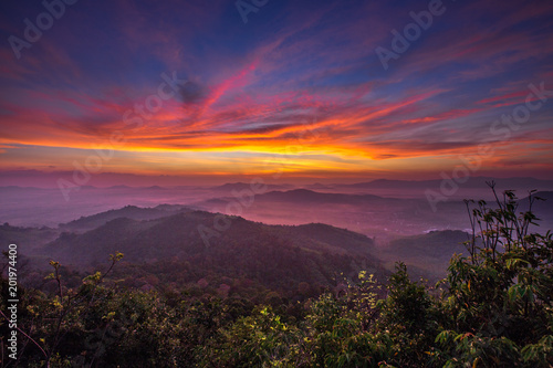 Tuinposter Crimson Hatyai city top view on Kor Hong mountain, Songkhla Province Thailand