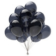 canvas print picture Balloons black birthday party decoration glossy balloon bunch. Holiday anniversary celebrate invitation greeting card background. 3d illustration