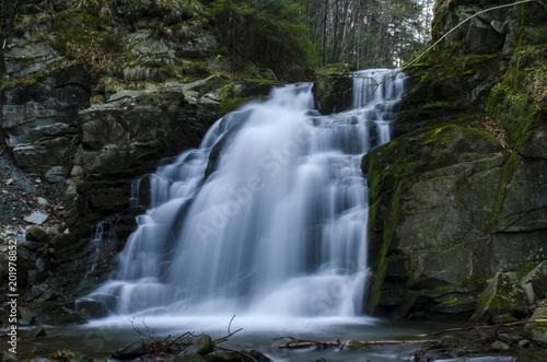 Aluminium Prints Forest river wodospad Podhalański