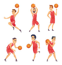 Sport Illustrations. Characters Set Of Basketball Team