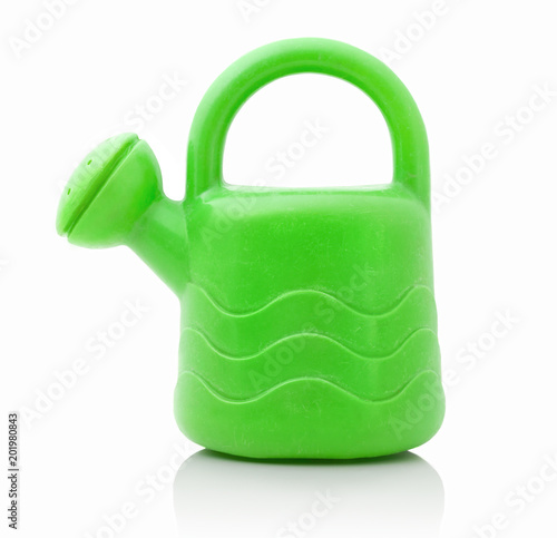 Small Green Plastic Can For Watering Plants And Flowers Playing Kids Miniature Of Children
