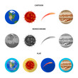 Earth, Jupiter, the Sun of the Planet of the Solar System. Asteroid, meteorite. Planets set collection icons in cartoon,flat,monochrome style vector symbol stock illustration web.