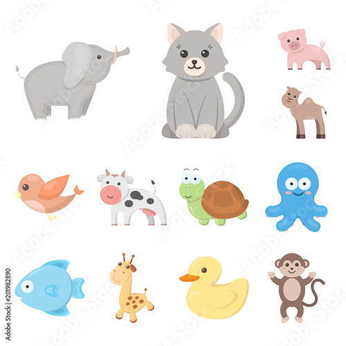 Poster de jardin Zoo An unrealistic cartoon animal icons in set collection for design. Toy animals vector symbol stock web illustration.