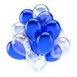 canvas print picture Blue balloon party happy birthday decoration white translucent balloons bunch glossy. Holiday anniversary celebration greeting card design element. 3d illustration