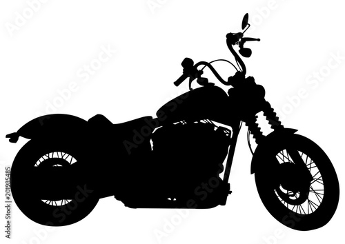 Foto op Canvas Motorfiets Girl and sport motor bike on white background