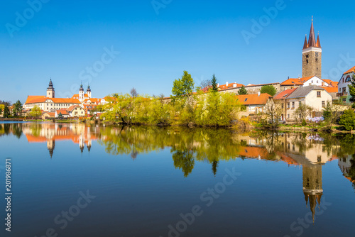 View at the old city Telc with Ulicky pond - Czech republic, Moravia Poster