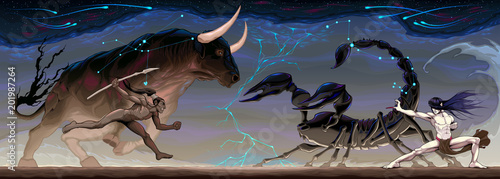 Poster Kinderkamer Zodiacal battle between Taurus and Scorpio