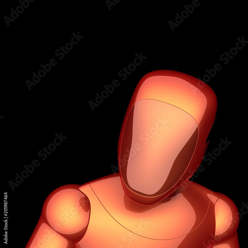 Fotografie, Obraz  Red robot orange futuristic cyborg bot android character concept