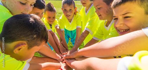 Kids soccer football -  children in hudle